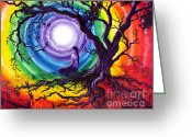 Dye Greeting Cards - Tree of Life Meditation Greeting Card by Laura Iverson