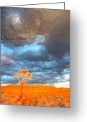 Judgement Day Greeting Cards - Tree of Life Meets a Galaxy Greeting Card by Carolina Liechtenstein