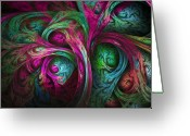 Trippy Greeting Cards - Tree of Life-Pink and Blue Greeting Card by Tammy Wetzel