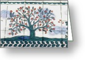 Trees Ceramics Greeting Cards - Tree of Life--Portuguese Folk Art Style Greeting Card by Dy Witt