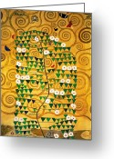 Klimt Greeting Cards - Tree of Life Stoclet Frieze Greeting Card by Gustav Klimt