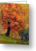 Warm Painting Greeting Cards - Tree of Wisdom Greeting Card by Blenda Tyvoll