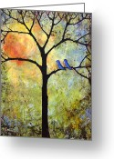 Birds  Greeting Cards - Tree Painting Art - Sunshine Greeting Card by Blenda Tyvoll
