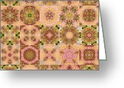 Block Quilts Greeting Cards - Tree Peony Block Quilt Greeting Card by Tracy Pierceall