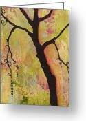 Wall Greeting Cards - Tree Print Triptych Section 1 Greeting Card by Blenda Tyvoll