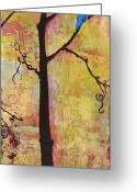 Warm Painting Greeting Cards - Tree Print Triptych Section 2 Greeting Card by Blenda Tyvoll