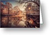 Symmetry Greeting Cards - Tree Reflection In River Greeting Card by Philippe Sainte-Laudy Photography