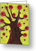 Leaves Jewelry Greeting Cards - Tree Sentry Greeting Card by Anastasiya Malakhova