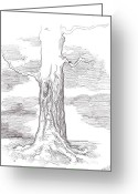 Sky.  Clouds Drawings Greeting Cards - Tree Sketch One Greeting Card by Steven Floyd