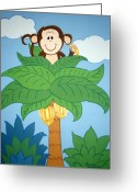 Banana Tree Greeting Cards - Tree top Monkey Greeting Card by Valerie Chiasson-Carpenter