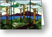 Music Glass Art Greeting Cards - Tree Tryptic Greeting Card by Jane Croteau