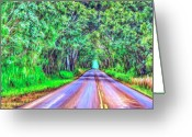 Hanalei Beach Greeting Cards - Tree Tunnel Kauai Greeting Card by Dominic Piperata