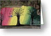 Trees Sculpture Greeting Cards - Tree with Lovebirds Greeting Card by Monika Dickson