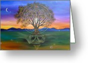 Yantra Greeting Cards - Tree Yantra Greeting Card by Sundara Fawn