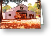 Hay Painting Greeting Cards - Treece Barn Greeting Card by Kevin Lawrence Leveque