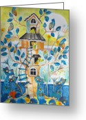 Blue Cat Greeting Cards - Treehouse Greeting Card by Johanna Virtanen