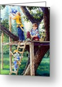 Children Book Illustrator Greeting Cards - Treehouse Magic Greeting Card by Hanne Lore Koehler