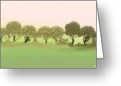 Gina Digital Art Greeting Cards - Treeline Greeting Card by Gina Manley