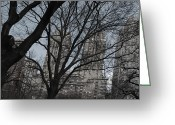 Computer Art And Digital Art Greeting Cards - Trees and Towers Greeting Card by Steve Sperry