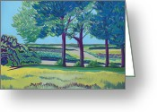 English Countryside Print Greeting Cards - Trees at Darland summer Greeting Card by Janet Darley