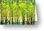 Fun Greeting Cards - Trees at Twilight III Greeting Card by Jerome Lawrence