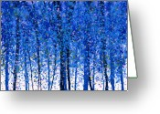 Leaf Painting Greeting Cards - Trees at Twilight IX Greeting Card by Jerome Lawrence