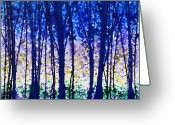 Bare Trees Painting Greeting Cards - Trees at Twilight V Greeting Card by Jerome Lawrence