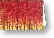 Red Autumn Trees Greeting Cards - Trees at Twilight XII Greeting Card by Jerome Lawrence