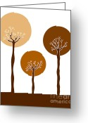Brown Drawings Greeting Cards - Trees Greeting Card by Frank Tschakert
