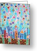 Primitive Mixed Media Greeting Cards - Trees Houses Landscape Greeting Card by Karla Gerard