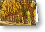 Autumnal Digital Art Greeting Cards - Trees in fall - brown and golden Greeting Card by Matthias Hauser