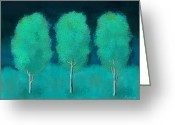 Snowy Night Digital Art Greeting Cards - Trees in Triplicate Moonlit Winter Greeting Card by Robin Lewis