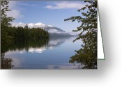 Lake Mcdonald Greeting Cards - Trees Mountain Lake Greeting Card by Amanda Kiplinger