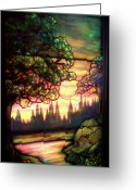 Stained Glass Glass Art Greeting Cards - Trees Stained Glass Window Greeting Card by Thomas Woolworth