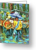Second Greeting Cards - Treme Brass Band Greeting Card by Dianne Parks