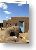 Taos Pueblo Greeting Cards - Tres Casitas Taos Pueblo Greeting Card by Kurt Van Wagner