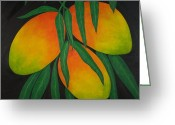 Mango Greeting Cards - Tres Mangos Greeting Card by Maureen Schmidt