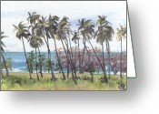 Puerto Rico Greeting Cards - Tres Palmas Greeting Card by Sarah Lynch