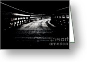 Railings Greeting Cards - TRESTLE CORRIDOR kinsol trestle railroad trail into darkness black and white Greeting Card by Andy Smy