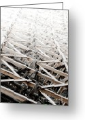 Wooden Greeting Cards - TRESTLE STAIRWAY kinsol trestle framwork abstract to distance Greeting Card by Andy Smy