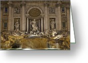 Baroque Greeting Cards - Trevi fountain at night Greeting Card by Joana Kruse