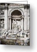 Construction Greeting Cards - Trevi Fountain Detail Greeting Card by Joan Carroll