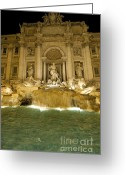 Nighttime Greeting Cards - Trevi Fountain. Rome Greeting Card by Bernard Jaubert