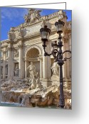 Baroque Greeting Cards - Trevi fountain Rome Greeting Card by Joana Kruse