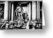 Sculptures For Sale Photo Greeting Cards - Trevi Fountain Statues Greeting Card by John Rizzuto