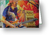 Lights Greeting Cards - Trey Anastasio Squared Greeting Card by Joshua Morton