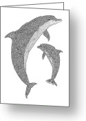 Beaches Drawings Greeting Cards - Tribal Bottle Nose Dolphin and Calf Greeting Card by Carol Lynne