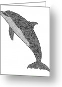 Nose Drawings Greeting Cards - Tribal Bottle Nose Dolphin  Greeting Card by Carol Lynne