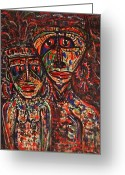  Tribal Prints Greeting Cards - Tribal Couple Greeting Card by Natalie Holland