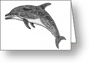 Beaches Drawings Greeting Cards - Tribal Dolphin Greeting Card by Carol Lynne
